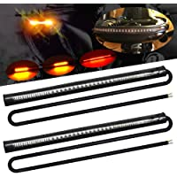 Universal Motorcycle Tail Lights 48 LEDs Amber/Red Colors Brake Stop Turn Signal Flexible LED Strips for Davidson Harley…