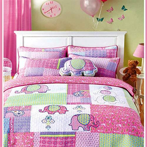 Auvoau 100% Cotton Girls Kids Quilt Bedspread Set Queen Size 3 Pieces Elephant Pattern Patchwork Fabric Girls Kids Comforter Bedding Sets