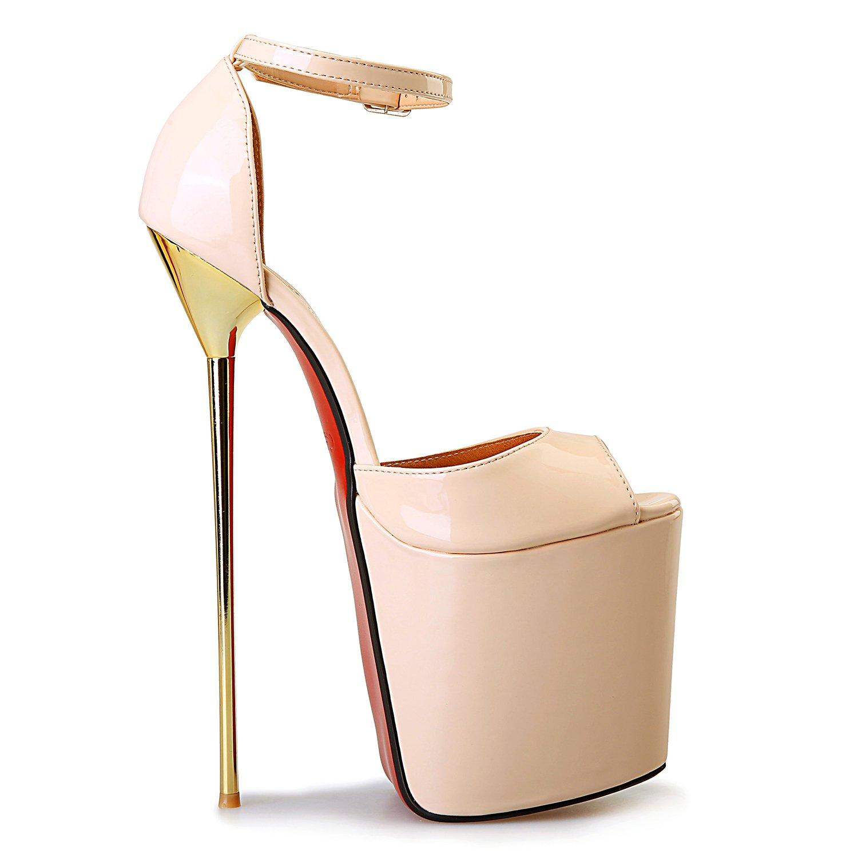 Leeminus Womens Faux Leather Peep Toe Platform Sandals with Ankle Strap B01AJPNUC0 13 B(M) US|Nude