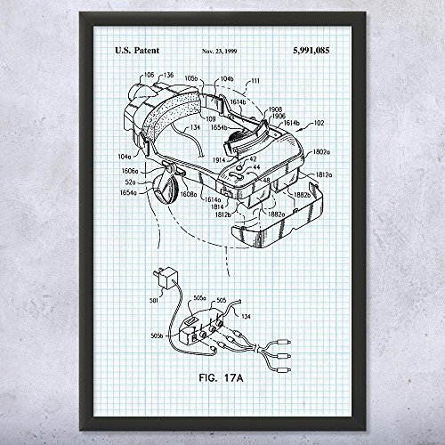 Framed i-O Display Systems i-Glasses Virtual Reality VR Headset Patent Art Print Graph Paper (16