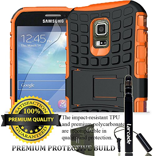 LARCADE (TM) 3 in 1 Bundle - Samsung Galaxy S5 Active (for SM-G870A Water and Shock Resistant Version Smartphone) - Heavy Duty Grenade Armor Case with Kickstand - Orange (Include Premium Screen Protector & Sensitive Cap Stylus Pen by LARCADE)(Not Fit Samsung Galaxy S5 Regular Version i9600)