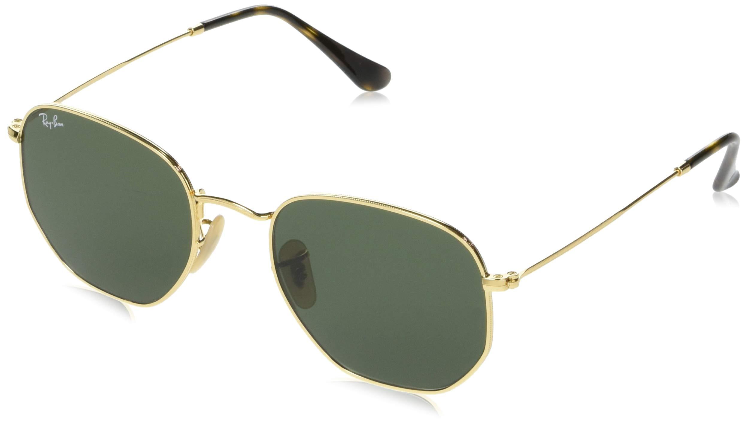 Ray-Ban RB3548N Hexagonal Flat Lenses Sunglasses, Gold/Green, 54 mm