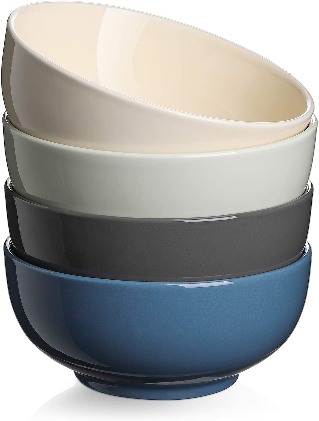 DOWAN Soup Bowls - 22 Oz Porcelain Large Soup Bowl, Cereal Bowl, Dishwasher and Microwave Safe Bowl Set of 4, Multifunction Colorful Kitchen Bowls for Soup, Cereal, Salad, Pasta, Cool Assorted Color
