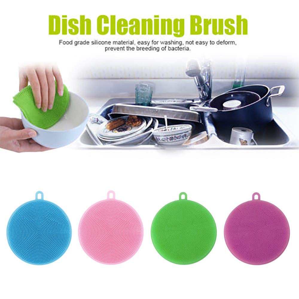 Pollyhb 4Pcs Silicone Scrubber, Silicone Sponge, Food-Grade Silicone, Kitchen Scrubber, Multi-Purpose Antibacterial Brush, Kitchen Dish Cleaning, Kitchen Tool for Dishwashing, Dishwashing Brush (A)