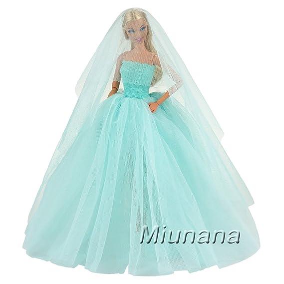 Amazon.es: Miunana 1x Vestido de Novia Ropa Boda con 1 Velo Accesorios como Regalo para Muñeca Barbie 30 CM Doll (Azul): Juguetes y juegos