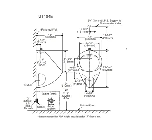 Toto Ut104e01 Urinal With Top Spud With Electronic Flushvalve