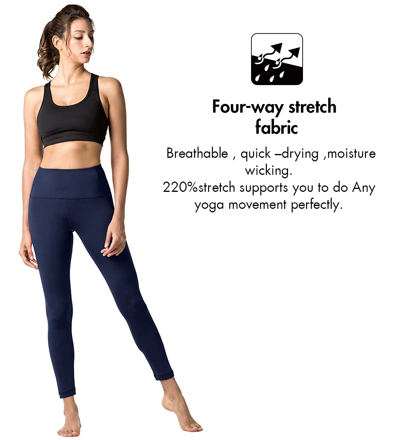 LAPASA Yoga Pants for Women Squat-Proof Sports Leggings High Waist L01