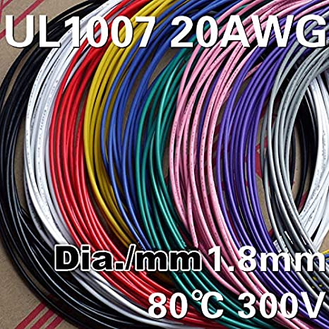 amazon com: davitu 5m2/4/6/8/10/12 color mix ul 1007 20awg awm electrical  wire cable line airline copper pcb wire harness - (color name: 12 color  each 5m):