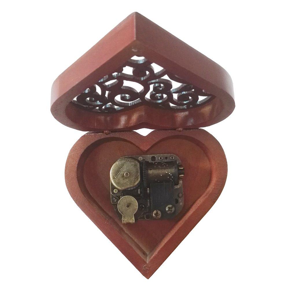 Bois Dense Heart-Shaped Bronze Amour /étage Bo/îte /à Musique FnLy Antique grav/é en Bois Bo/îte /à Musique /à remonter