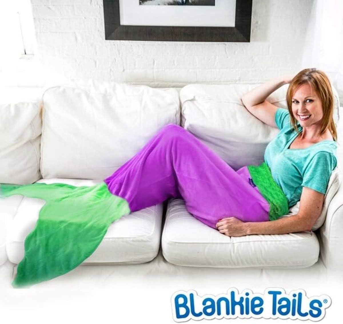 Blankie Tails The Original Mermaid Tail Blanket with Luxurious Minky Fleece Mermaid Tail for Kids Purple//Seafoam