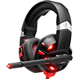 RUNMUS Gaming Headset Xbox One Headset with 7.1 Surround Sound, PS4 Headset with Noise Canceling Mic & LED Light, Compatible with PC, PS4, Xbox One Controller(Adapter Not Included), NES