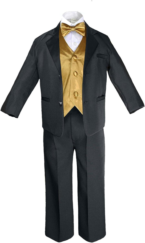 S-20 Unotux 7pc Formal Boy Black White Suit Tuxedo Bow Tie Vest Set