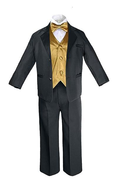 Amazon.com: unotux 7pc Formal Boy Traje de Oro Negro Tuxedo ...