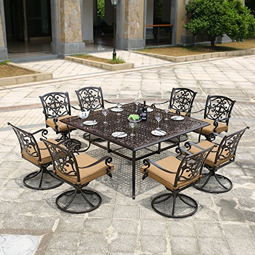 DOMI OUTDOOR LIVING Traditions 9 Piece Square Dining Set with Swivel Dining Chairs and a Large Dining Table, 63 x 63