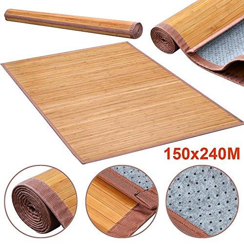World Pride Indoor Outdoor Brown Wood Bamboo Area Rug Carpet 5'x 8'