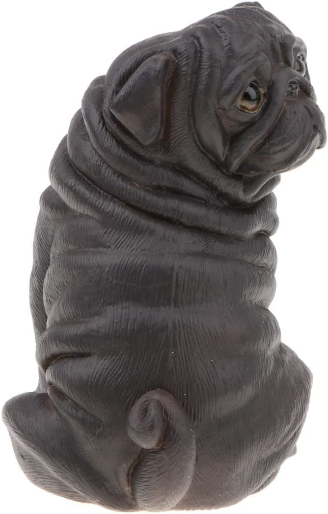 Realistic Black Plastic Artificial Pug Dog Model Statue Suit for Home Decor Collectible Gift
