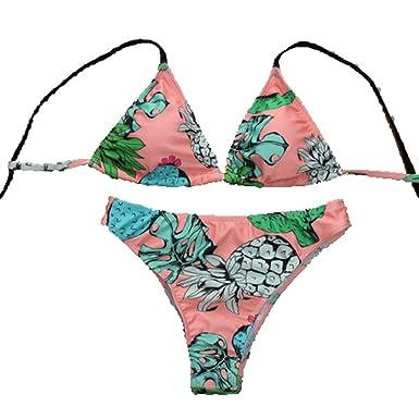 ba4f273fb7 Amazon.com: 2PCS Women's Sexy Summer Bikini Set Swimwear Halter Strappy  Floral Push-up Padded Bra Swimsuit Pineapple Print Bathing Suit: Clothing