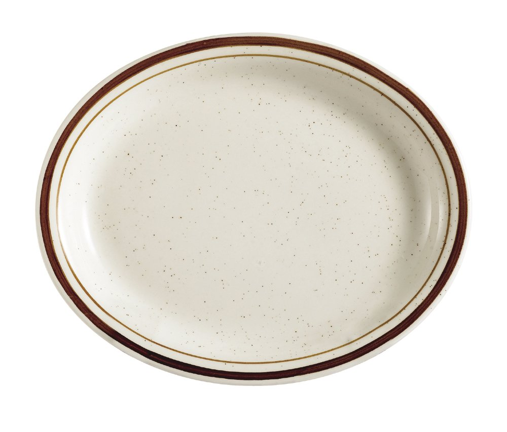 CAC China AZ-13 Arizona 11-1/2-Inch by 9-Inch Brown Rim Brown Speckled American White Stoneware Oval Platter, Box of 12