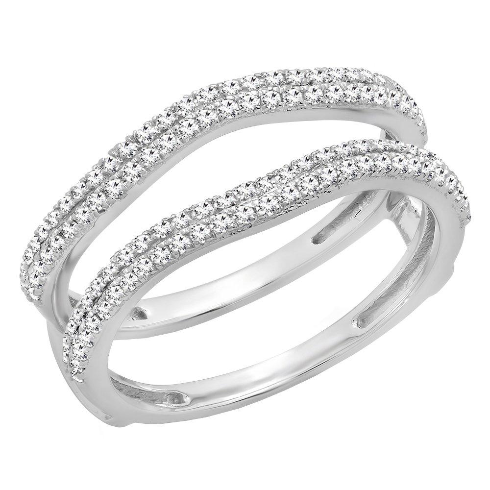 0.48 Carat (ctw) 10K White Gold White Diamond Ladies Wedding Enhancer Double Ring 1/2 CT (Size 4.5)
