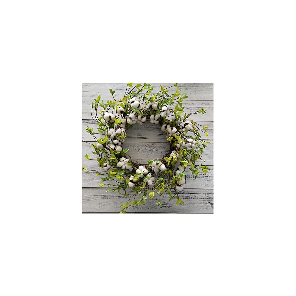 22-Cotton-Wreath-Farmhouse-Natural-Cotton-Boll-Rustic-Floral-Round-Wreath-with-Artificial-Green-Leaves-for-Outdoor-Indoor-Wedding-Centerpiece-Welcome-Decor