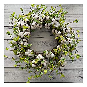 "22"" Cotton Wreath Farmhouse Natural Cotton Boll Rustic Floral Round Wreath with Artificial Green Leaves for Outdoor Indoor Wedding Centerpiece Welcome Decor 78"