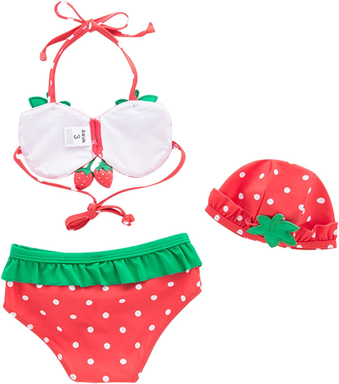 Toddler Baby Girls Swimwear Strawberry Bikini Kids Swimsuit with Swim Hat