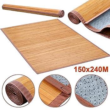 Yaheetech Bamboo Area Rug Carpet 5x 8 Brown Natural Bamboo Wood Floor Mat Bamboo Carpet Indoor Outdoor (8 x 5 ft)