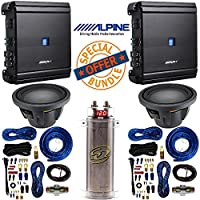 Alpine 12 Inch 2250 Watt Max 4 Ohm Round Subwoofer Alpine Mono V-Power Digital Amplifier 500 watts RMS x 1 at 2 ohms With 4 Gauge AMP Kit 2 Farad Power Capacitor with Digital Display