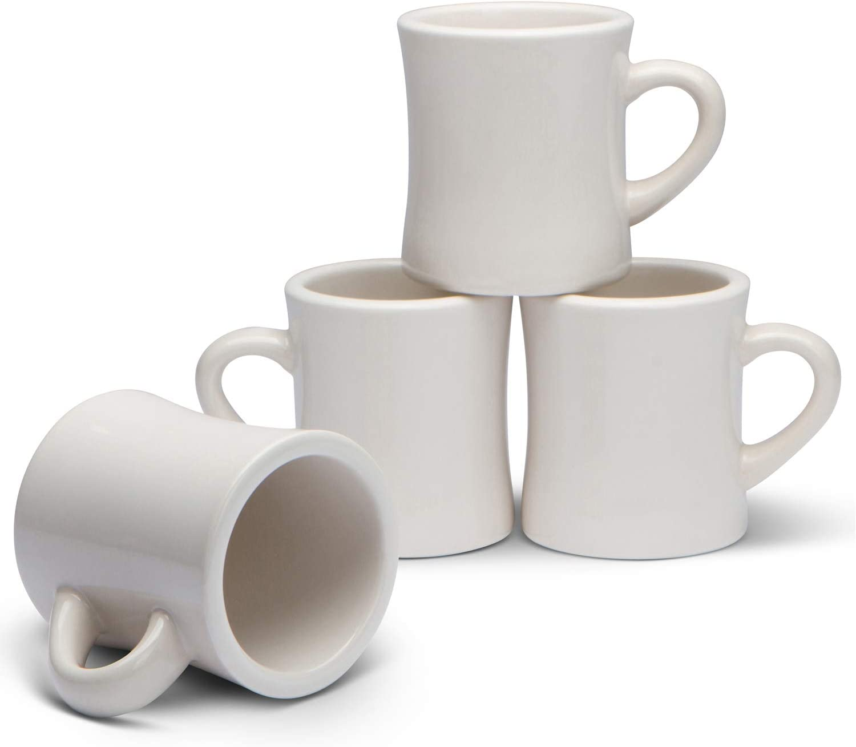 Serami Classic Cream White Diner Mugs for Coffee with 11oz Capacity, Set of 4