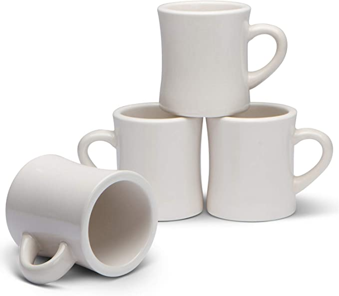 Serami Classic Cream White Diner Mugs for Coffee