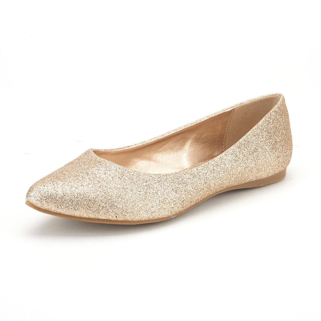 DREAM PAIRS Sole Classic Women's Casual Pointed Toe Ballet Comfort Soft Slip On Flats Shoes Gold Glitter Size 9.5