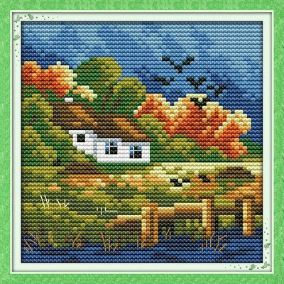 (Joy Sunday Cross Stitch kits, The four seasons scenery(autumn),14CT Counted, 16cm×16cm or 6.24