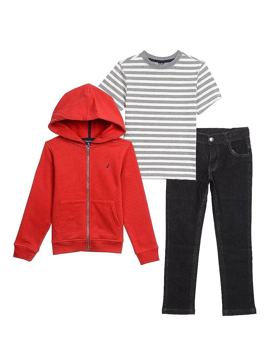 Nautica Boys' Fleece Hoodie, Tee and Denim Pant Set 30G31Q