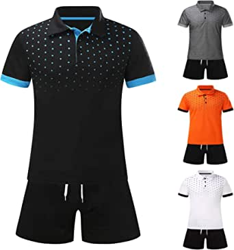 JUNGE 2021 Fashion Men's Polo Shirt Shorts Set,Summer Shorts Pants and Printed Short Sleeve Golf Tees Shirt 2 Piece Suit