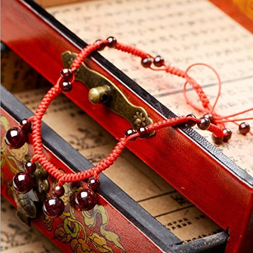 usongs Retro original handmade natural genuine garnet jewelry national air safety gourd Foot Chain anklet ankle chain women girls models