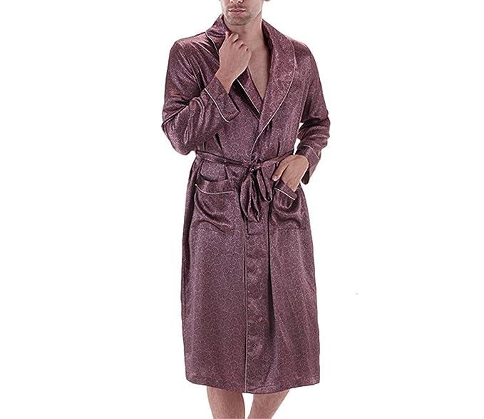 Reveryml Hombre Primavera otoño Bata para Hombre Paisley Bata de baño Bata de Seda de satén