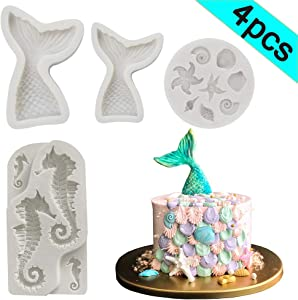 Seashell Mermaid Tail Mold - BEBEEPOO 4 Pack Seahorse Seashell Starfish Mermaid Tail Silicone Mold for Under The Sea Cake Decoration, Chocolate, Candy, Polymer Clay, Cupcake Decor, Sugar Craft, etc.