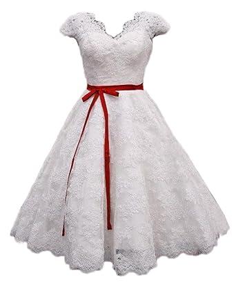 QiJunGe Vintage Tea Length Lace Wedding Dresses Retro Bridal Gown ...