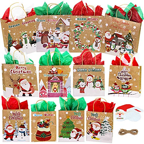 Winlyn 14 Set Assorted Christmas Prints Gift Bags Xmas Party Favors Bags Holiday Gift Bags Goody Bags Brown Kraft Paper Bags Festive Bags Small Medium Large for Kids Classroom School Gift Wrapping