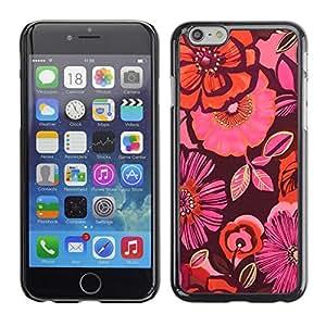 X-ray Impreso colorido protector duro espalda Funda piel de Shell para Apple iPhone 6 Plus(5.5 inches)- Orange Purple Pink Flowers