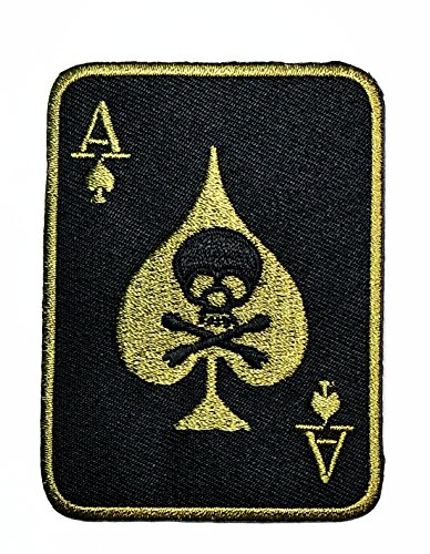 (HHO Skull ACE OF SPADES DEATH SKULL CARD Patch Green Patch Embroidered DIY Patches, Cute Applique Sew Iron on Kids Craft Patch for Bags Jackets Jeans Clothes)