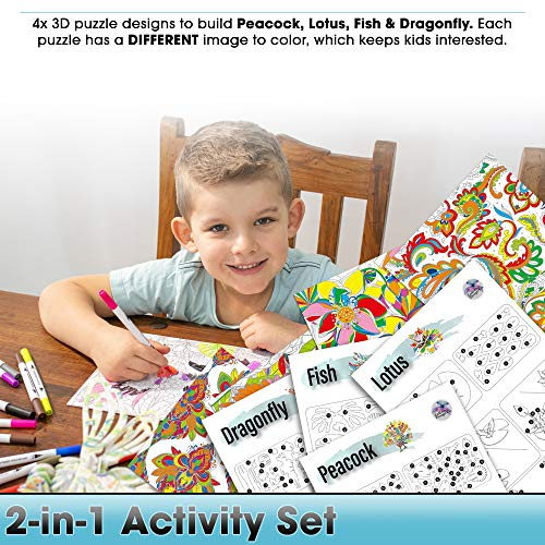3D Coloring Puzzle Set, 2-in-1 Kids Craft Art Kit. Color 8 Different Images & Build 4 DIY 3D Puzzles. A Fun Creative…
