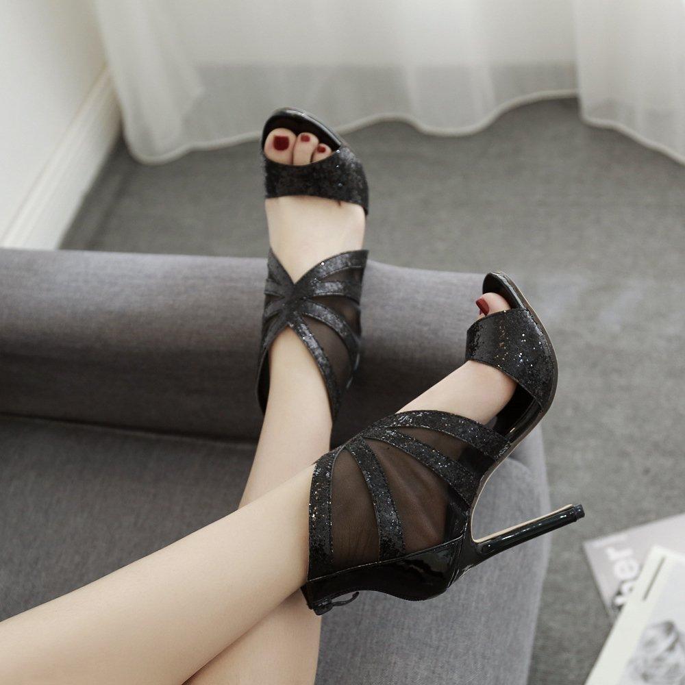 ZPFME Frauen Pailletten Stiletto High High High Heels Sexy Knöchelriemen Sandalen Damen Party Mesh Peep Toe Schuhe Abend Prom Riemchen Pumps 2076ad