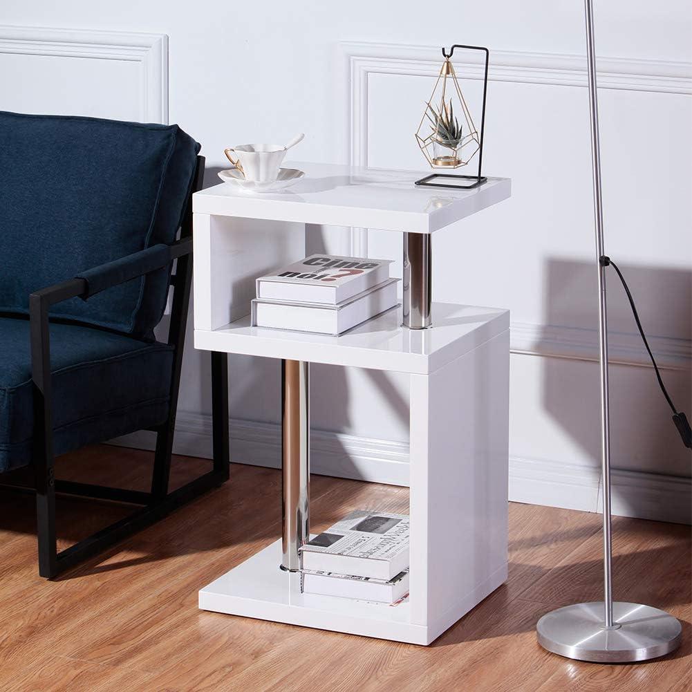 Groothandel Kwaliteit Goldfan Bijzettafel, hoogglans, salontafel, woonkamertafel, koffietafel, telefoontafel Vierkante tafel. 44 x 38 x 75cm grijs wit AFTZTzs