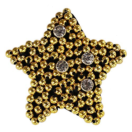 Beaded Gold Star Badges Crystal Patch for Brooches Clothes Bags Repair Decorated 5pieces (Motif Crystal Brooch)