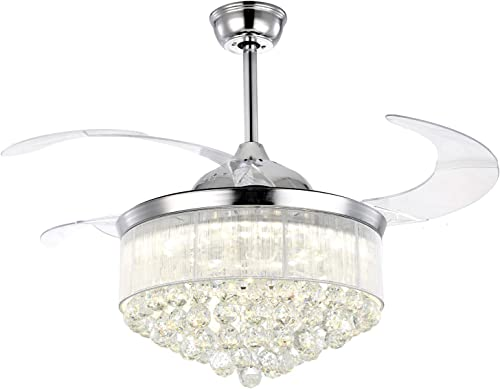 7PM Chrome Crystal Chandelier Fan Modern Retractable Blades Ceiling Fan