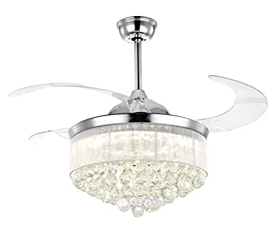7PM 42 Inch Retractable Ceiling Fans with Lights Modern Ceiling Fan Retractable Invisible Blades Crystal LED Chandelier Fan with Remote Control Fandelier Dimmable LED Light Chrome Finish