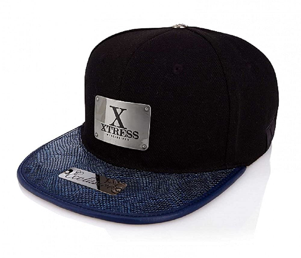 Xtress Exclusive Gorra negra de visera plana azul. Unisex: Amazon ...