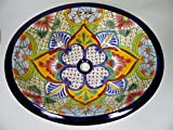 21'' TALAVERA SINK drop in mexican bathroom sink handmade ceramic mexico folk art
