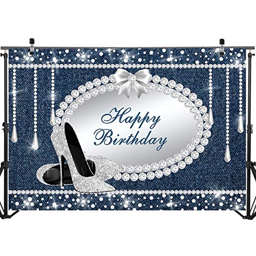 Mocsicka Denim and Diamond Backdrop 7x5ft Vinyl Happy Birthday High Heel Theme Party Photo Booth Backdrops Diamond Decoration Birthday Party Banner Photography Background]()